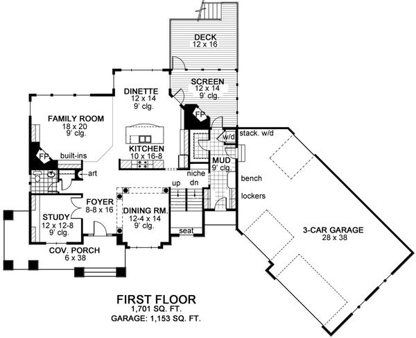 Craftsman Floor Plan - Main Floor Plan Plan #51-464