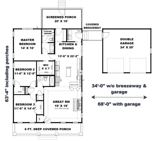 Craftsman Floor Plan - Main Floor Plan Plan #44-234