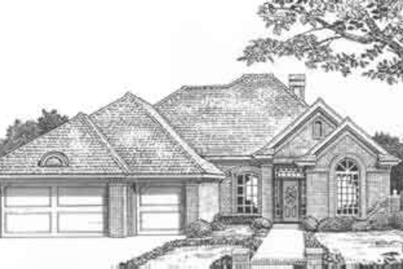 European Style House Plan - 3 Beds 2.5 Baths 2116 Sq/Ft Plan #310-402 Exterior - Front Elevation