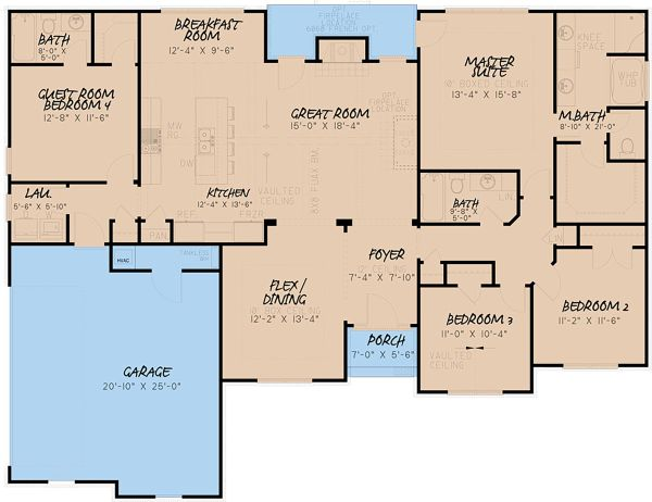 Craftsman Floor Plan - Main Floor Plan Plan #923-156