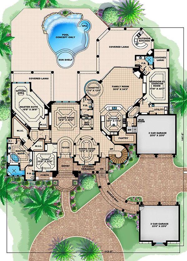 Mediterranean Floor Plan - Main Floor Plan Plan #27-478