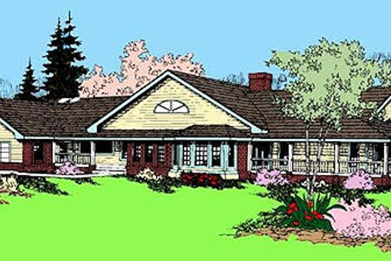 Ranch Exterior - Front Elevation Plan #60-604 - Houseplans.com