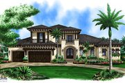 Beach Style House Plan - 4 Beds 3.5 Baths 5350 Sq/Ft Plan #27-520 Exterior - Front Elevation