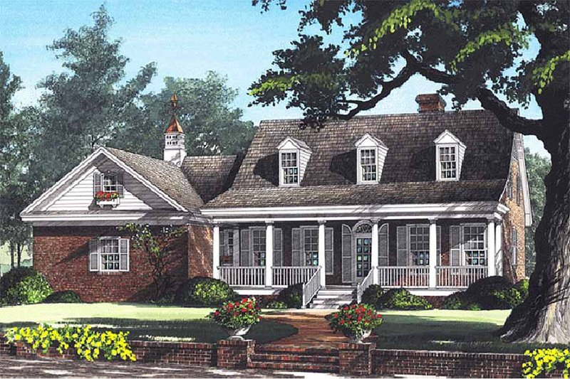 Country Exterior - Front Elevation Plan #137-198 - Houseplans.com