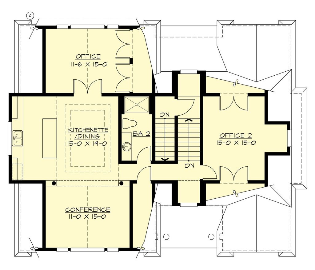 Traditional Style House Plan 1 Beds 1 Baths 1285 Sq Ft