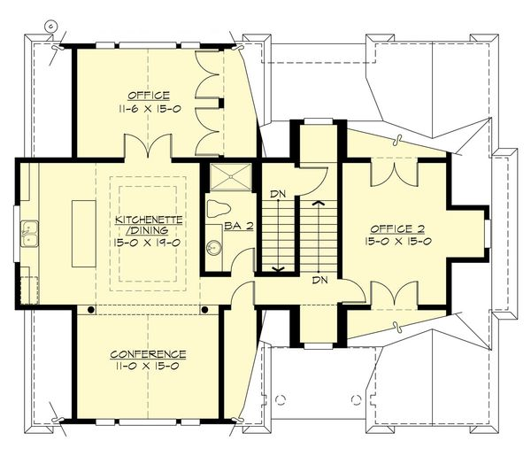Traditional Floor Plan - Upper Floor Plan Plan #132-191