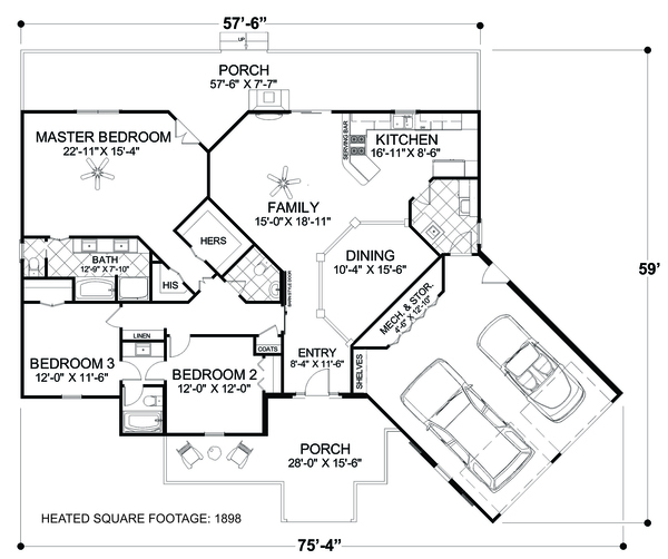 Cottage Floor Plan - Main Floor Plan Plan #56-716