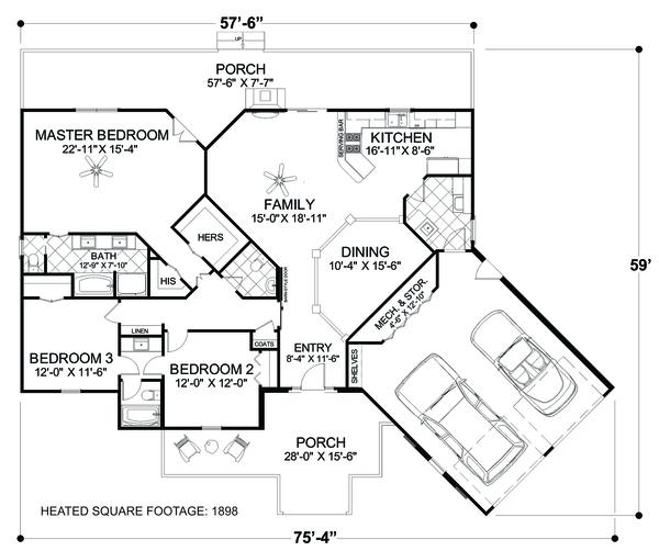 Architectural House Design - Cottage Floor Plan - Main Floor Plan #56-716