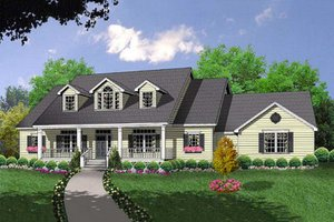 Country Exterior - Front Elevation Plan #40-370