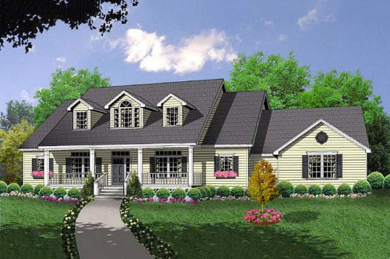 Country Style House Plan - 3 Beds 2.5 Baths 1919 Sq/Ft Plan #40-370 Exterior - Front Elevation