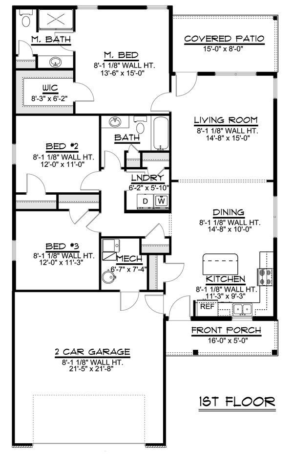 House Plan Design - Ranch Floor Plan - Main Floor Plan #1064-40