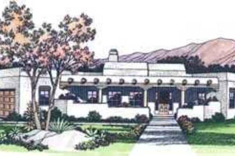 Adobe / Southwestern Exterior - Front Elevation Plan #72-127 - Houseplans.com