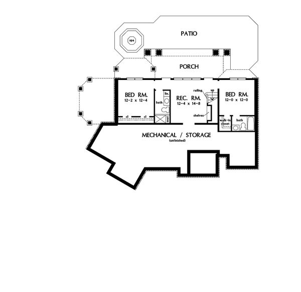 European Floor Plan - Lower Floor Plan #929-4