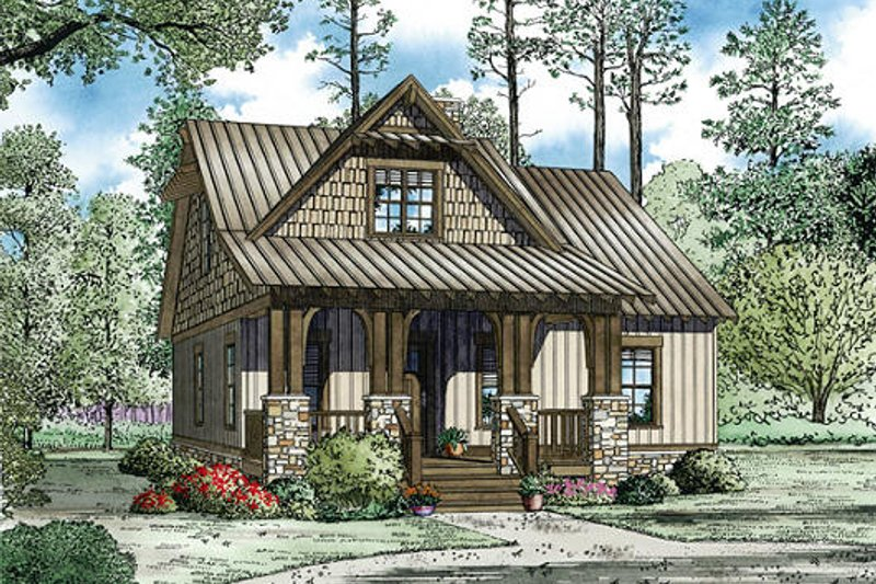 Cottage Style House Plan - 3 Beds 2 Baths 1379 Sq/Ft Plan #17-2451