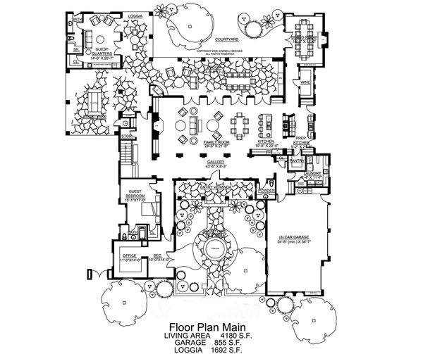 Dream House Plan - Mediterranean Floor Plan - Main Floor Plan #484-8