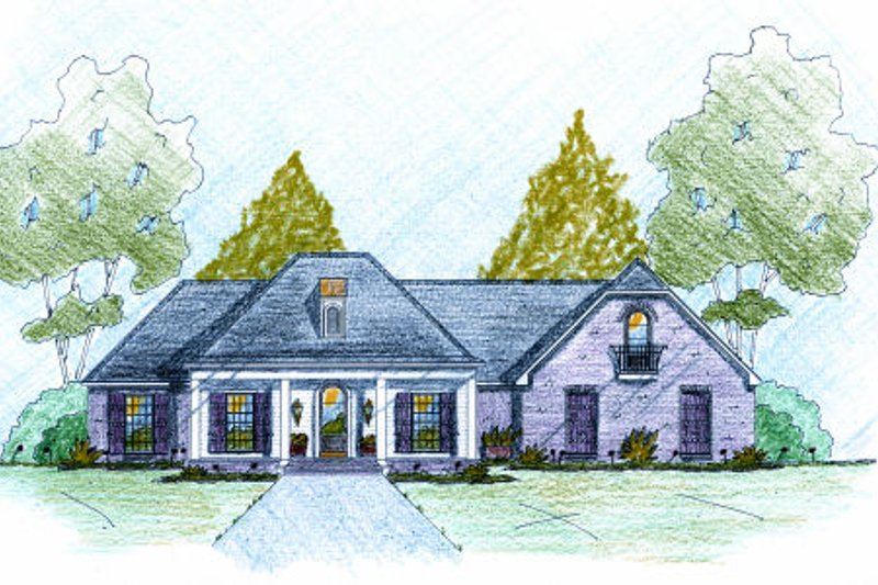 European Style House Plan - 4 Beds 2 Baths 2177 Sq/Ft Plan #36-503 Exterior - Front Elevation