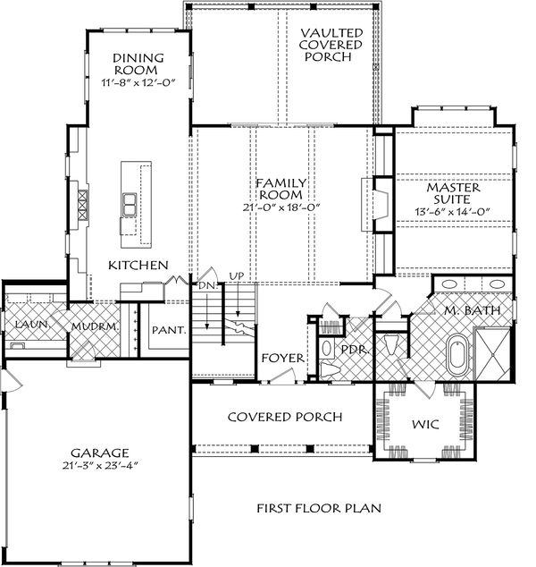 Farmhouse Floor Plan - Main Floor Plan Plan #927-998