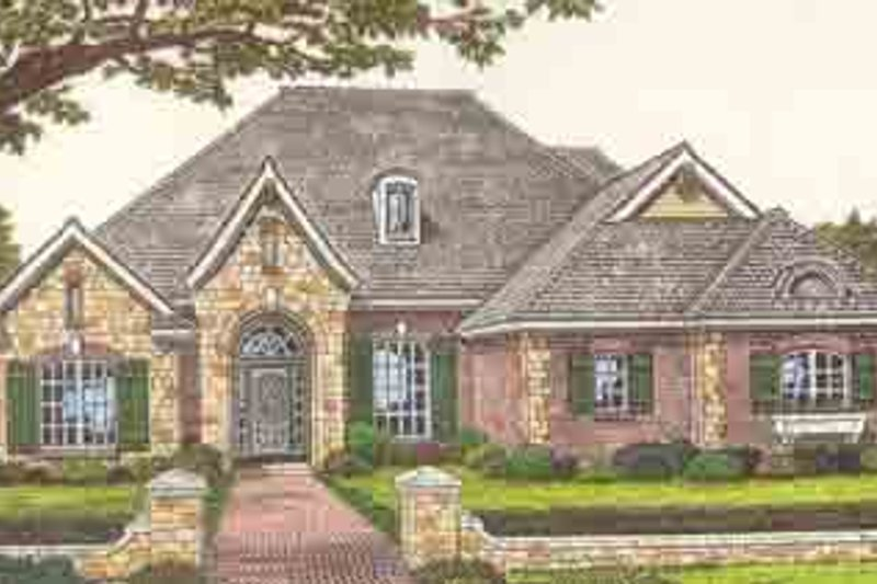 European Style House Plan - 4 Beds 3 Baths 2279 Sq/Ft Plan #310-247 Exterior - Front Elevation