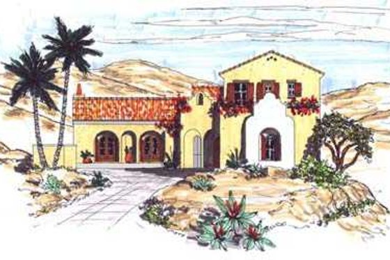 Mediterranean Exterior - Front Elevation Plan #76-113