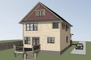 Country Style House Plan - 4 Beds 3 Baths 2418 Sq/Ft Plan #79-279 Exterior - Rear Elevation
