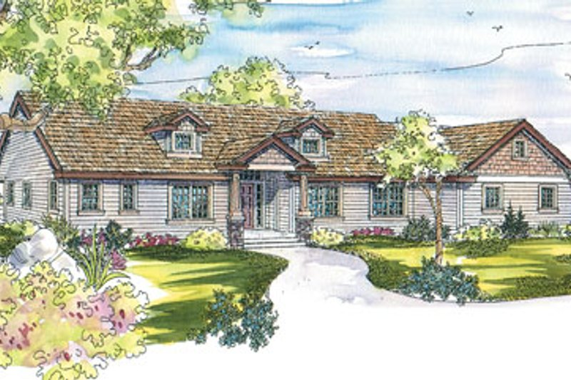 Ranch Exterior - Front Elevation Plan #124-543