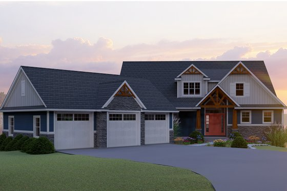 Craftsman Exterior - Front Elevation Plan #1064-17