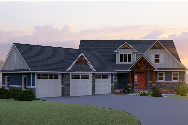 Craftsman Style House Plan - 3 Beds 3.5 Baths 2770 Sq/Ft Plan #1064-17 Exterior - Front Elevation