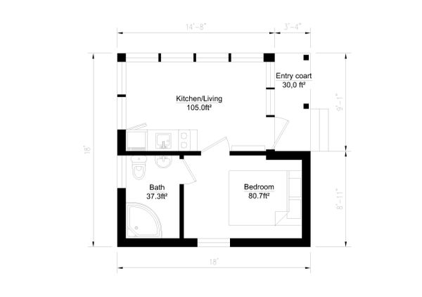 Modern Style House Plan - 1 Beds 1 Baths 264 Sq/Ft Plan #549-11 Floor Plan - Main Floor Plan