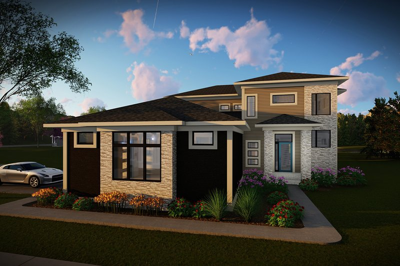 Contemporary Style House Plan - 3 Beds 2.5 Baths 2777 Sq/Ft Plan #70-1496 Exterior - Front Elevation