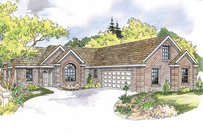 Ranch Exterior - Front Elevation Plan #124-580