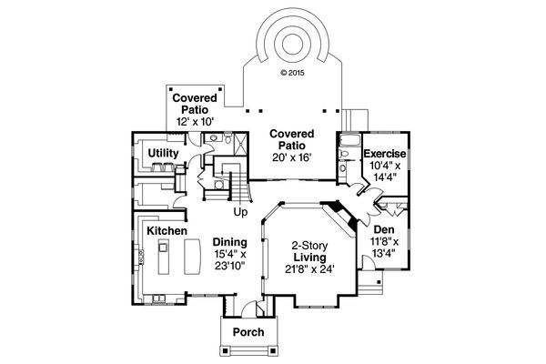 Craftsman Floor Plan - Main Floor Plan Plan #124-1000