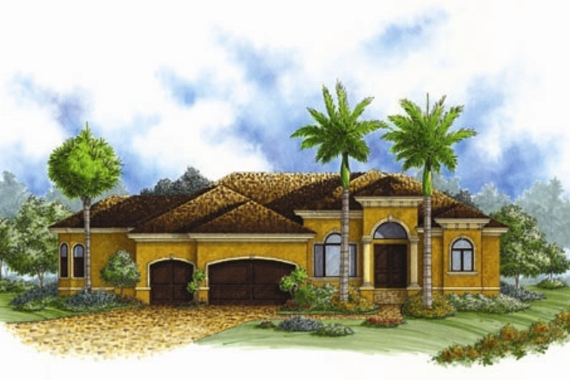 European Style House Plan - 4 Beds 3 Baths 2464 Sq/Ft Plan #27-436 Exterior - Front Elevation