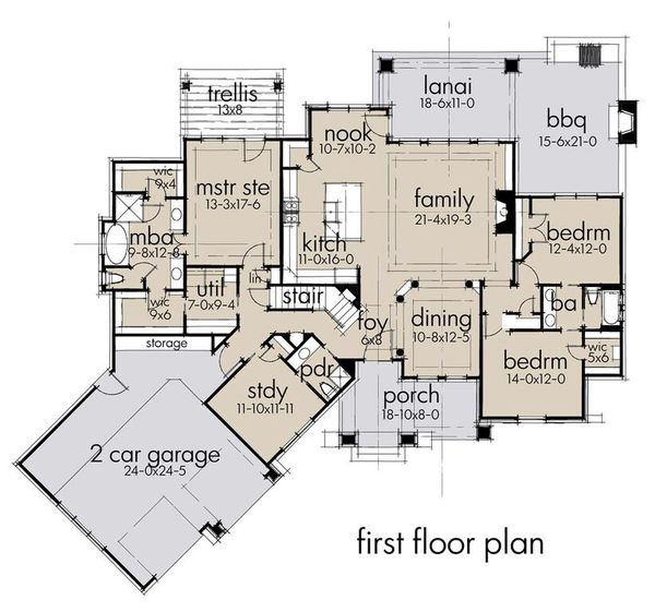 Craftsman Floor Plan - Main Floor Plan Plan #120-193