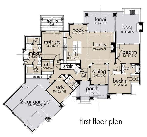 Craftsman Floor Plan - Main Floor Plan #120-193