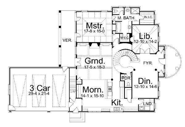 House Plan Design - Classical Floor Plan - Main Floor Plan #119-253