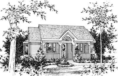 Cottage Style House Plan - 1 Beds 1 Baths 696 Sq/Ft Plan #22-422 Exterior - Front Elevation