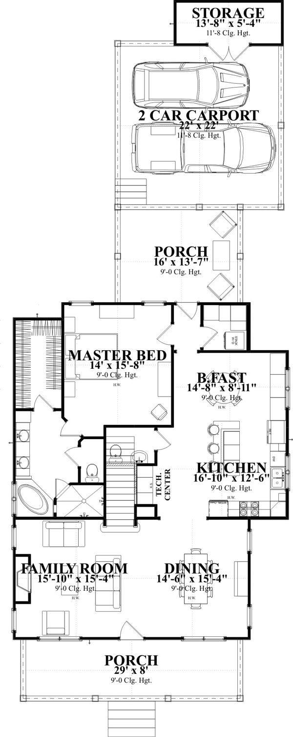 Traditional Style House Plan - 4 Beds 3 Baths 2713 Sq/Ft Plan #63-374 Floor Plan - Main Floor Plan