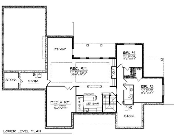 Lower Level floor plan - 4500 square foot traditional home