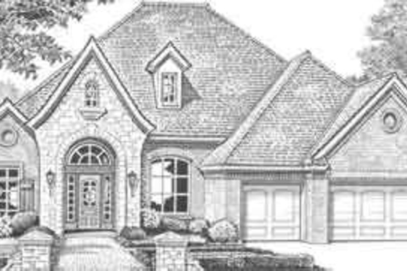 European Style House Plan - 4 Beds 4 Baths 3387 Sq/Ft Plan #310-329 Exterior - Front Elevation
