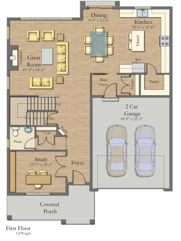 Craftsman Floor Plan - Main Floor Plan #1057-14