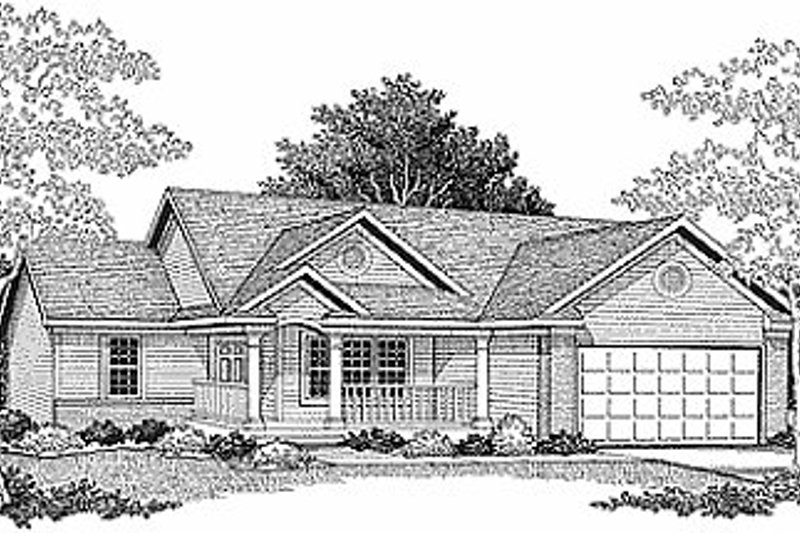 Traditional Style House Plan - 3 Beds 2 Baths 1274 Sq/Ft Plan #70-104 Exterior - Front Elevation