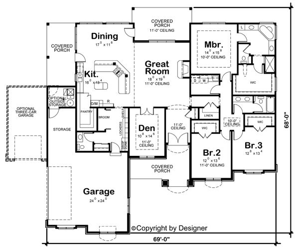 House Plan Design - European Floor Plan - Main Floor Plan #20-2128