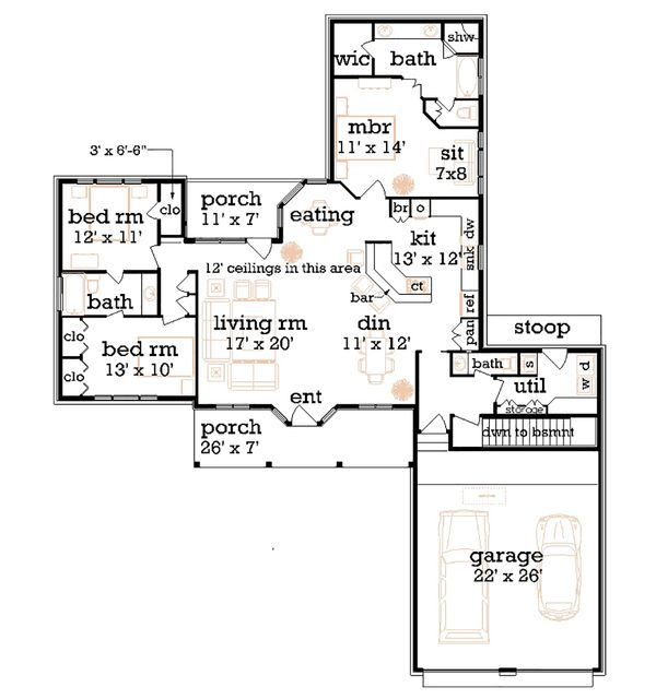 Farmhouse Floor Plan - Main Floor Plan Plan #45-370