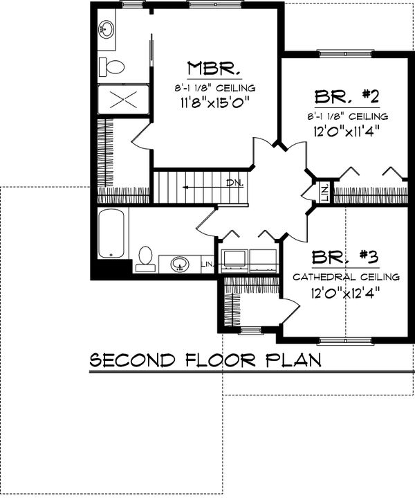 Craftsman Floor Plan - Upper Floor Plan Plan #70-1043