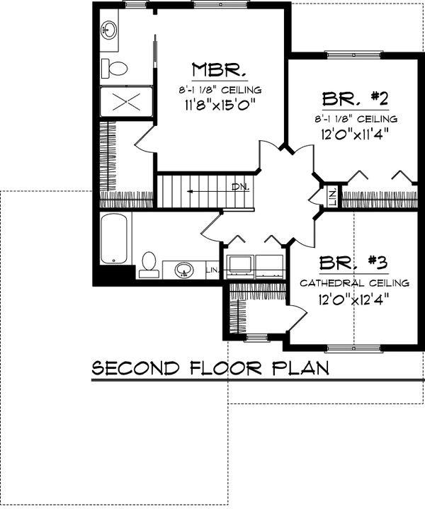 Craftsman Floor Plan - Upper Floor Plan #70-1043