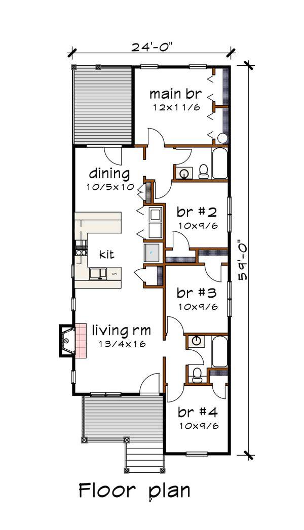 Bungalow Floor Plan - Main Floor Plan #79-309
