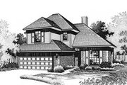 European Style House Plan - 3 Beds 2 Baths 1533 Sq/Ft Plan #310-569 Exterior - Front Elevation