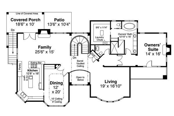 Adobe / Southwestern Floor Plan - Upper Floor Plan #124-1193