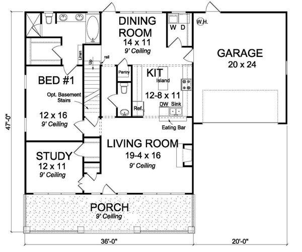 Craftsman Floor Plan - Main Floor Plan #513-2065