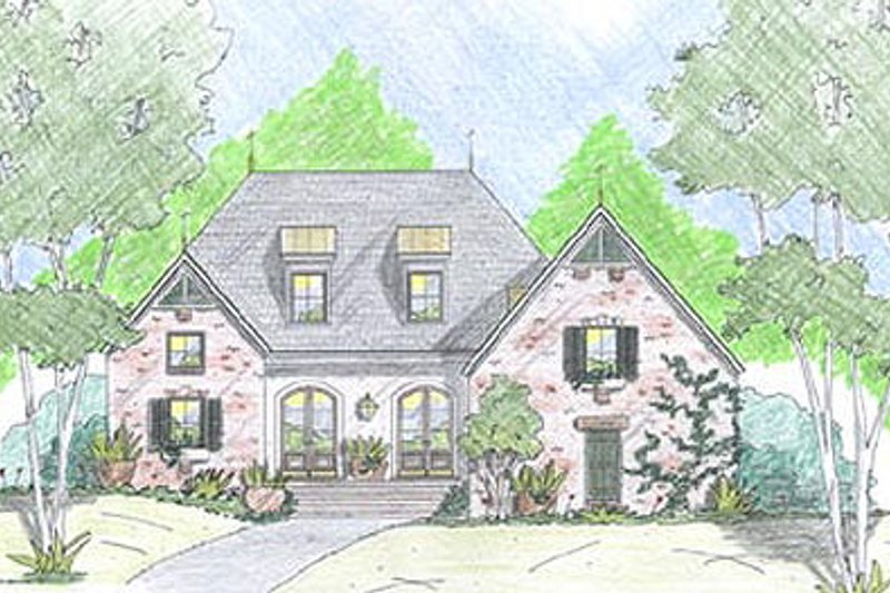 European Exterior - Front Elevation Plan #36-470